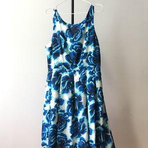 Anthropologie Blue floral Fit & Flare Dress 12
